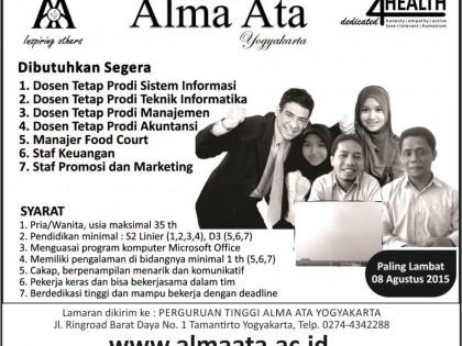 Lowongan Dosen & Staff Alma Ata