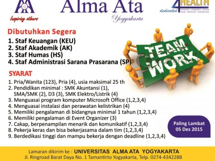 Lowongan Staff Universitas Alma Ata