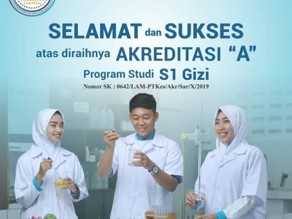 Achieving Accreditation A, Bachelor of Nutrition Study Program, Alma Ata University becomes the one and only Bachelor of Nutrition Department Program from Private University in Indonesia with A Accreditation Predicate