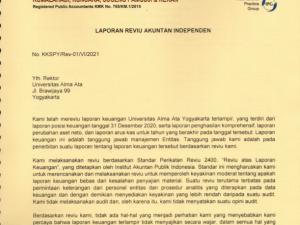 Laporan keuangan Universitas Alma Ata  sudah di verifikasi oleh kantor Akuntan Publik